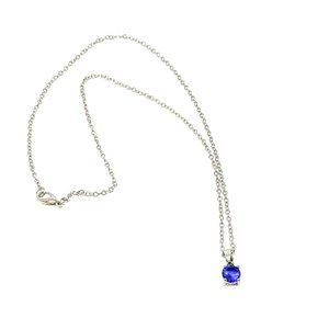 Silver Tone Chain Necklace Brilliant Blue Stone